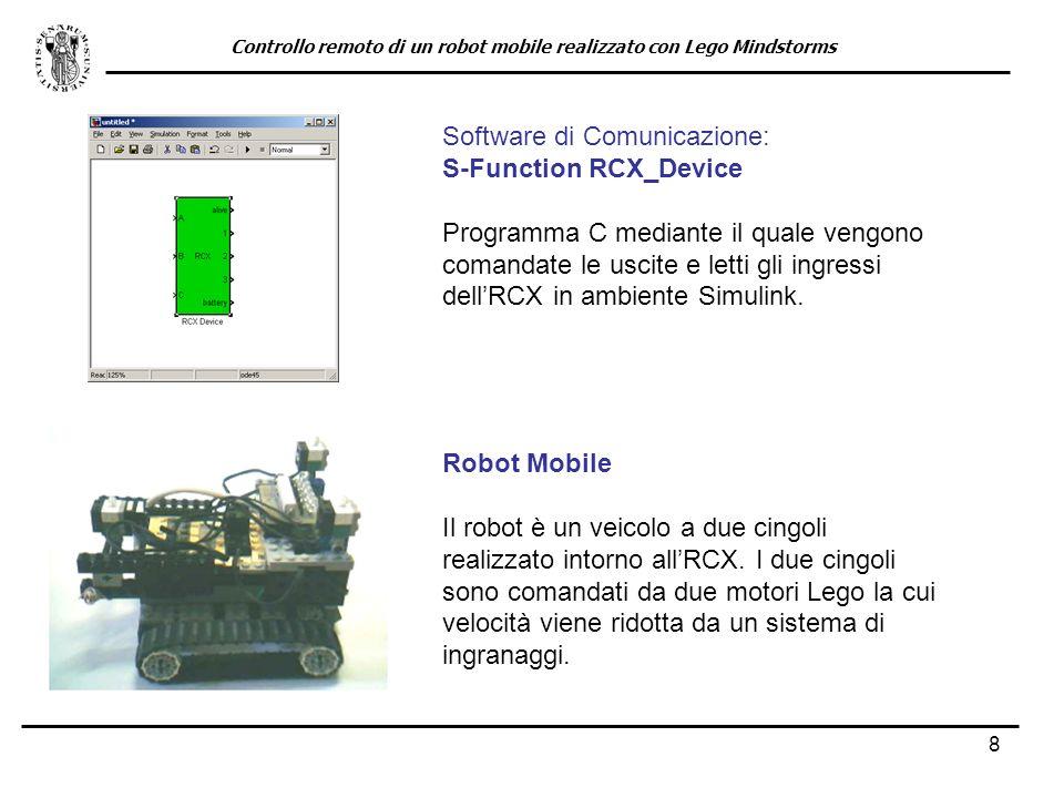 8 Robot Mobile Il robot è un veicolo a due cingoli realizzato intorno allRCX. I due cingoli sono comandati da due motori Lego la cui velocità viene ri