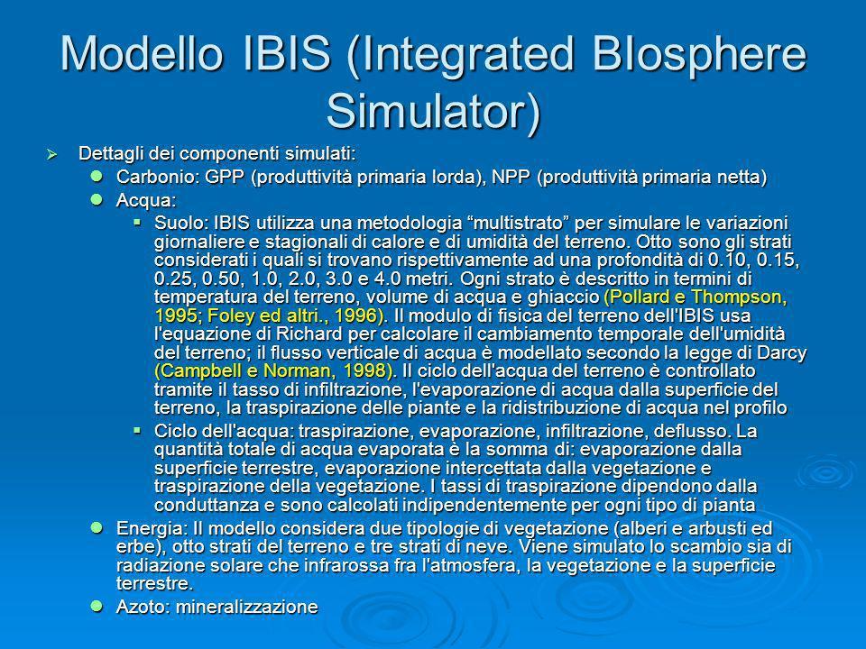 Modello IBIS (Integrated BIosphere Simulator) Dettagli dei componenti simulati: Dettagli dei componenti simulati: Carbonio: GPP (produttività primaria