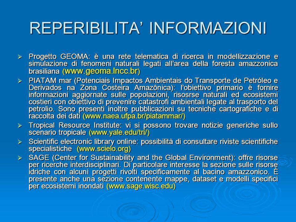 REPERIBILITA INFORMAZIONI Progetto GEOMA: è una rete telematica di ricerca in modellizzazione e simulazione di fenomeni naturali legati allarea della