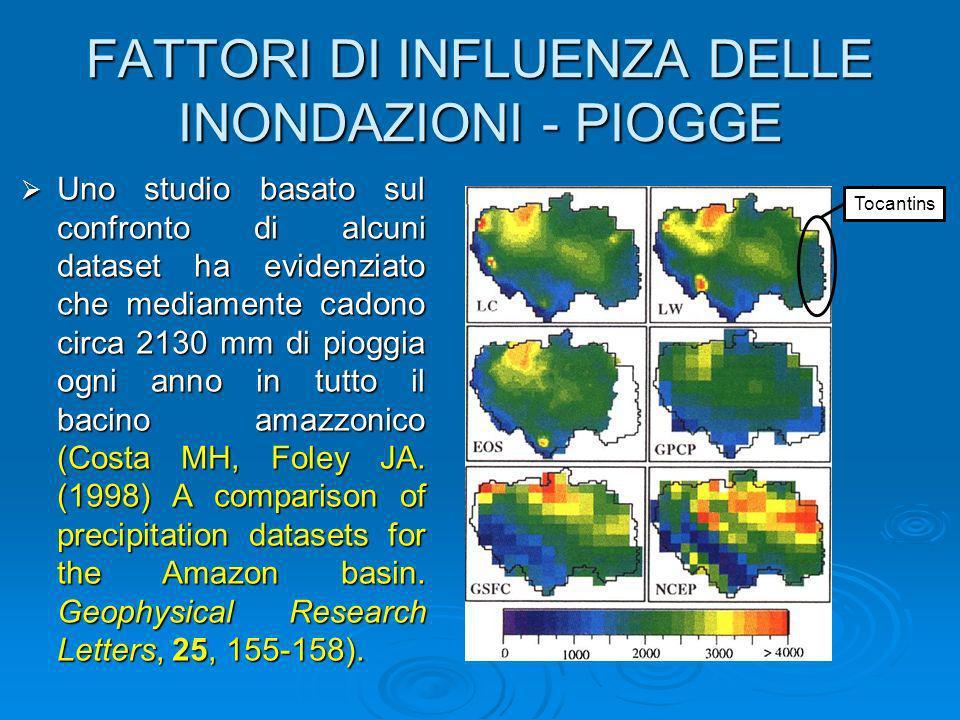FATTORI DI INFLUENZA DELLE INONDAZIONI - PIOGGE Uno studio basato sul confronto di alcuni dataset ha evidenziato che mediamente cadono circa 2130 mm d