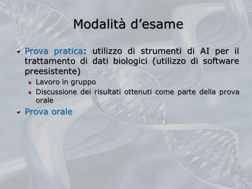 Modalità desame Prova pratica: utilizzo di strumenti di AI per il trattamento di dati biologici (utilizzo di software preesistente) Lavoro in gruppo D