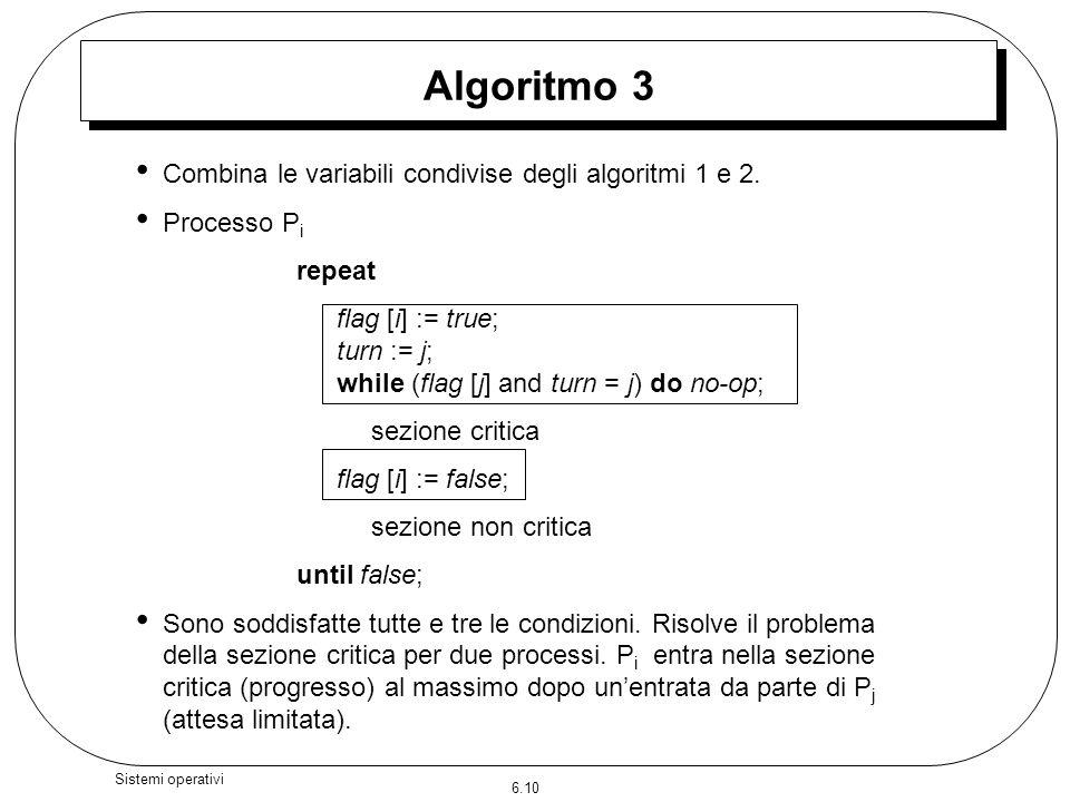 6.10 Sistemi operativi Algoritmo 3 Combina le variabili condivise degli algoritmi 1 e 2. Processo P i repeat flag [i] := true; turn := j; while (flag