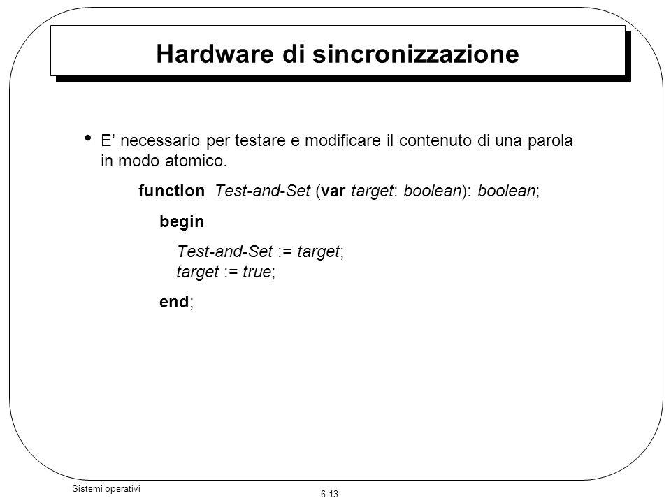 6.13 Sistemi operativi Hardware di sincronizzazione E necessario per testare e modificare il contenuto di una parola in modo atomico. function Test-an