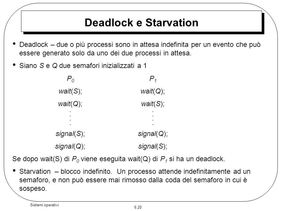 6.20 Sistemi operativi Deadlock e Starvation Deadlock – due o più processi sono in attesa indefinita per un evento che può essere generato solo da uno