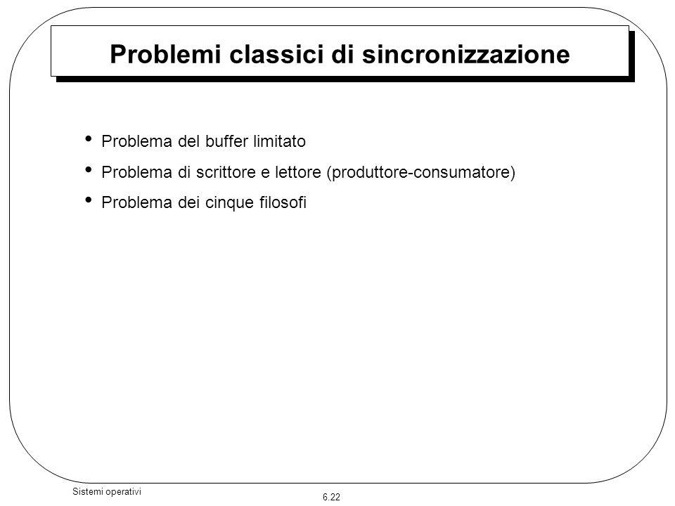 6.22 Sistemi operativi Problemi classici di sincronizzazione Problema del buffer limitato Problema di scrittore e lettore (produttore-consumatore) Pro