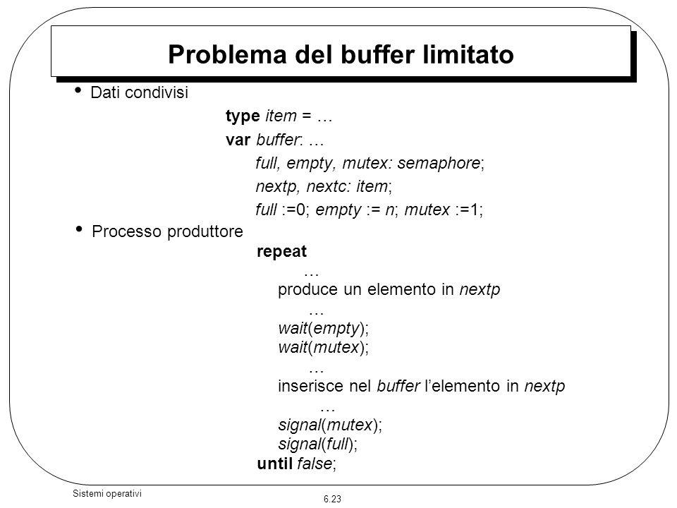 6.23 Sistemi operativi Problema del buffer limitato Dati condivisi type item = … var buffer: … full, empty, mutex: semaphore; nextp, nextc: item; full
