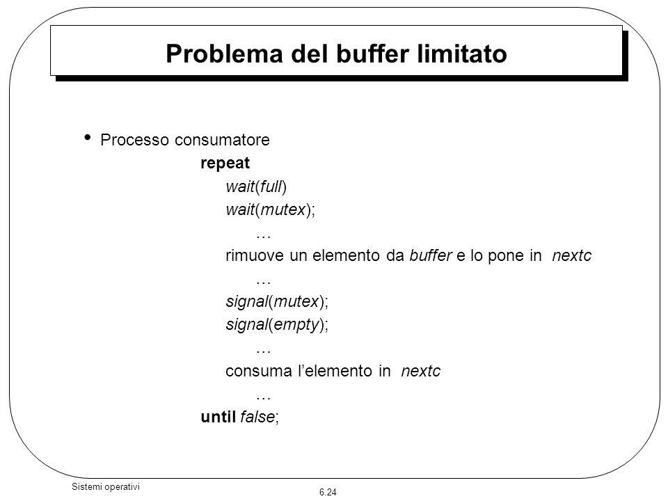 6.24 Sistemi operativi Problema del buffer limitato Processo consumatore repeat wait(full) wait(mutex); … rimuove un elemento da buffer e lo pone in n