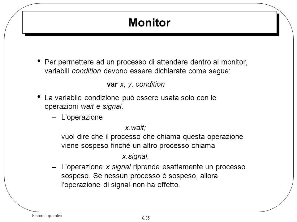 6.35 Sistemi operativi Per permettere ad un processo di attendere dentro al monitor, variabili condition devono essere dichiarate come segue: var x, y