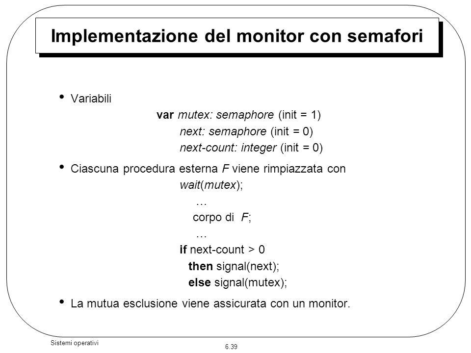 6.39 Sistemi operativi Variabili var mutex: semaphore (init = 1) next: semaphore (init = 0) next-count: integer (init = 0) Ciascuna procedura esterna