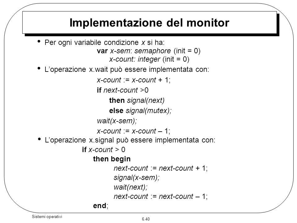 6.40 Sistemi operativi Per ogni variabile condizione x si ha: var x-sem: semaphore (init = 0) x-count: integer (init = 0) Loperazione x.wait può esser