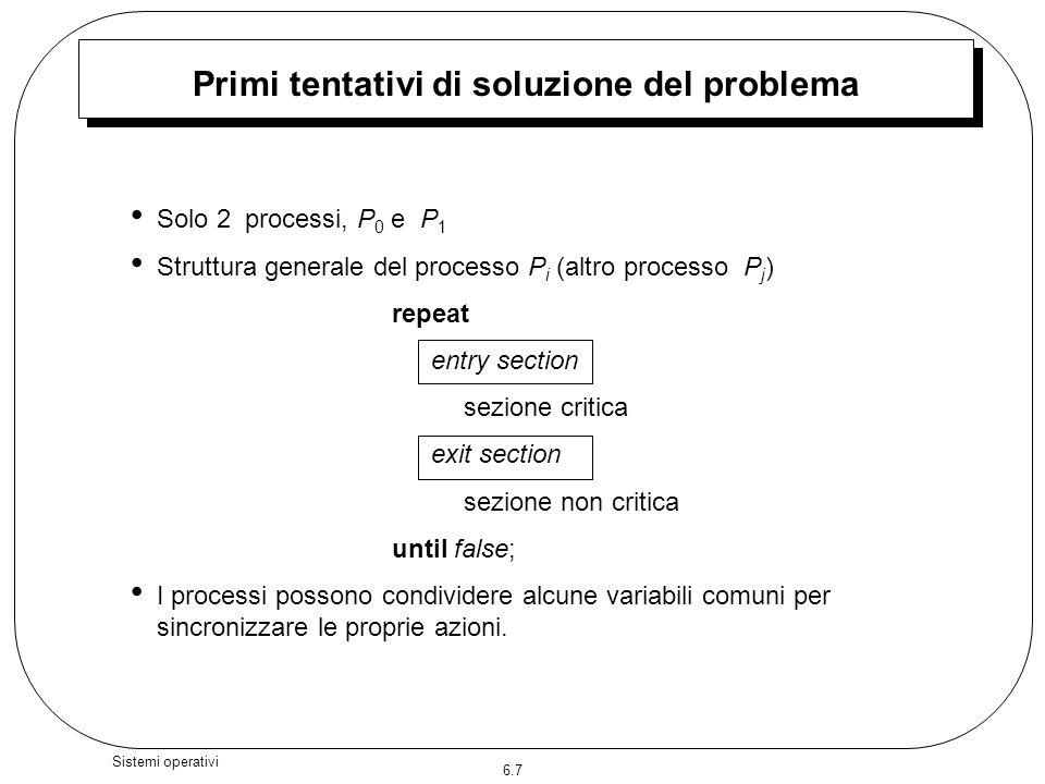 6.7 Sistemi operativi Primi tentativi di soluzione del problema Solo 2 processi, P 0 e P 1 Struttura generale del processo P i (altro processo P j ) r