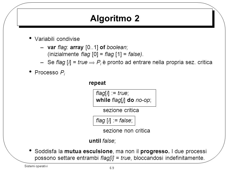 6.9 Sistemi operativi Algoritmo 2 Variabili condivise –var flag: array [0..1] of boolean; (inizialmente flag [0] = flag [1] = false). –Se flag [i] = t