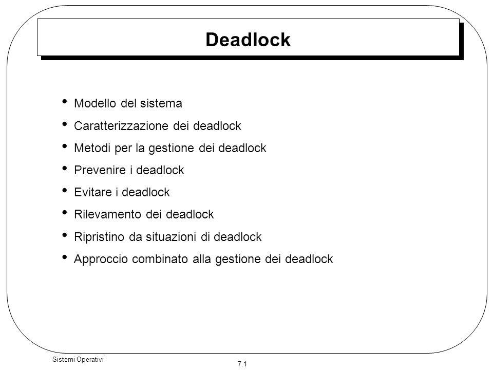 7.12 Sistemi Operativi Prevenzione dei deadlock Impossibilità di prelazione –Se un processo che possiede alcune risorse richiede unaltra risorsa che non gli può essere allocata immmediatamente, allora rilascia tutte le risorse possedute.