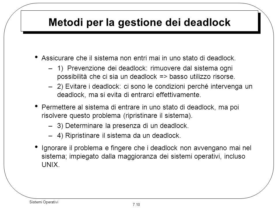 7.10 Sistemi Operativi Metodi per la gestione dei deadlock Assicurare che il sistema non entri mai in uno stato di deadlock. –1) Prevenzione dei deadl