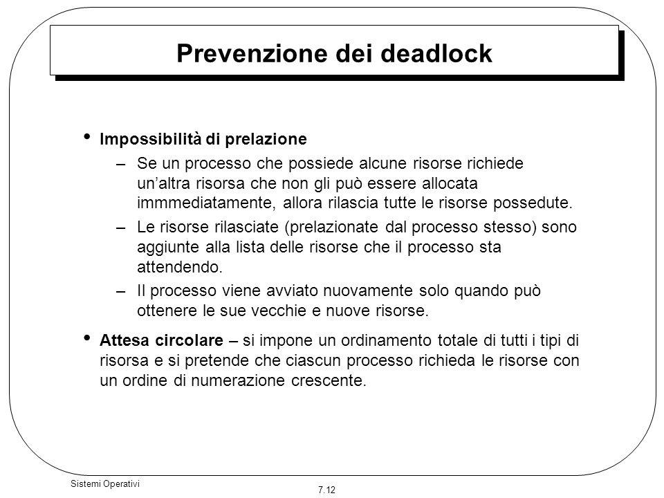7.12 Sistemi Operativi Prevenzione dei deadlock Impossibilità di prelazione –Se un processo che possiede alcune risorse richiede unaltra risorsa che n