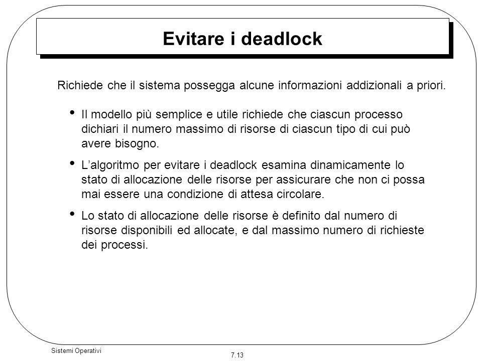 7.13 Sistemi Operativi Evitare i deadlock Il modello più semplice e utile richiede che ciascun processo dichiari il numero massimo di risorse di ciasc