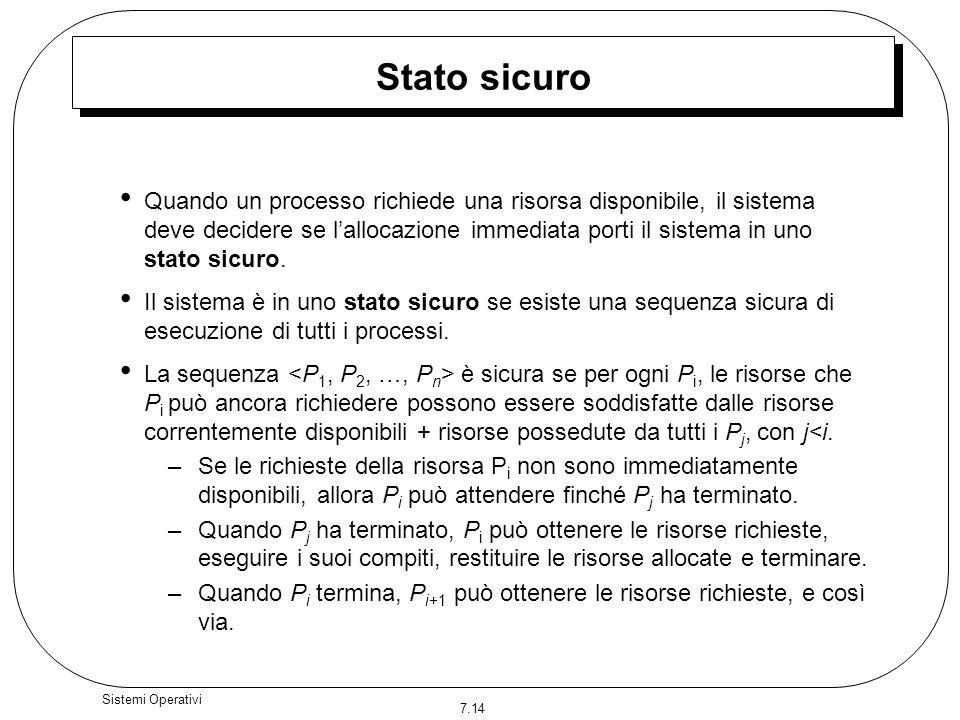 7.14 Sistemi Operativi Stato sicuro Quando un processo richiede una risorsa disponibile, il sistema deve decidere se lallocazione immediata porti il s