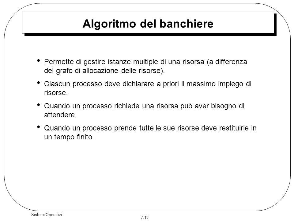 7.18 Sistemi Operativi Algoritmo del banchiere Permette di gestire istanze multiple di una risorsa (a differenza del grafo di allocazione delle risors
