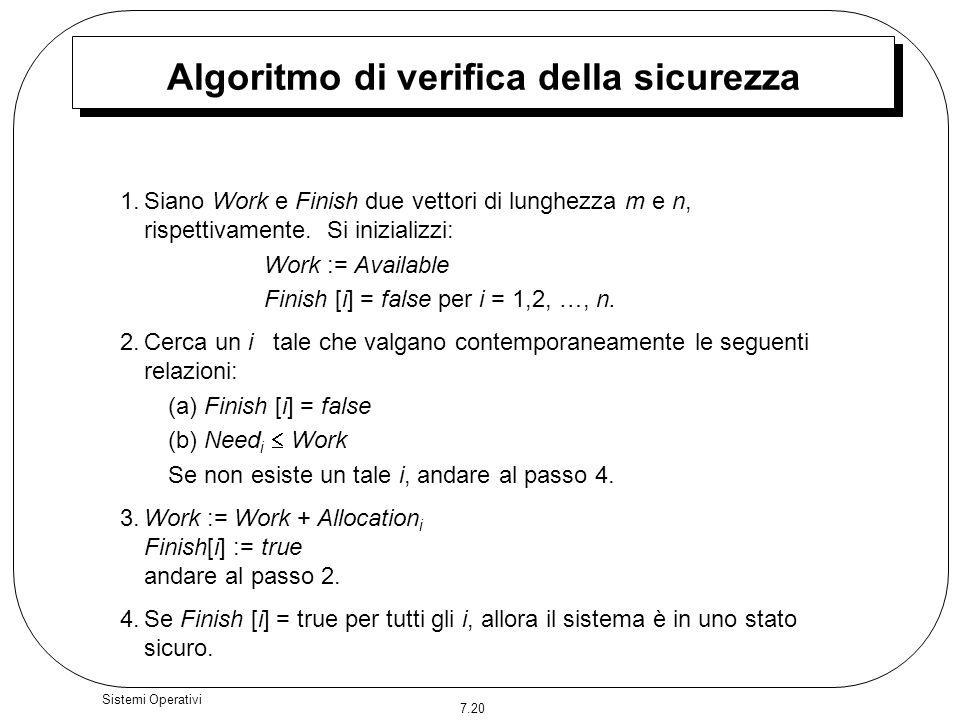 7.20 Sistemi Operativi Algoritmo di verifica della sicurezza 1.Siano Work e Finish due vettori di lunghezza m e n, rispettivamente. Si inizializzi: Wo