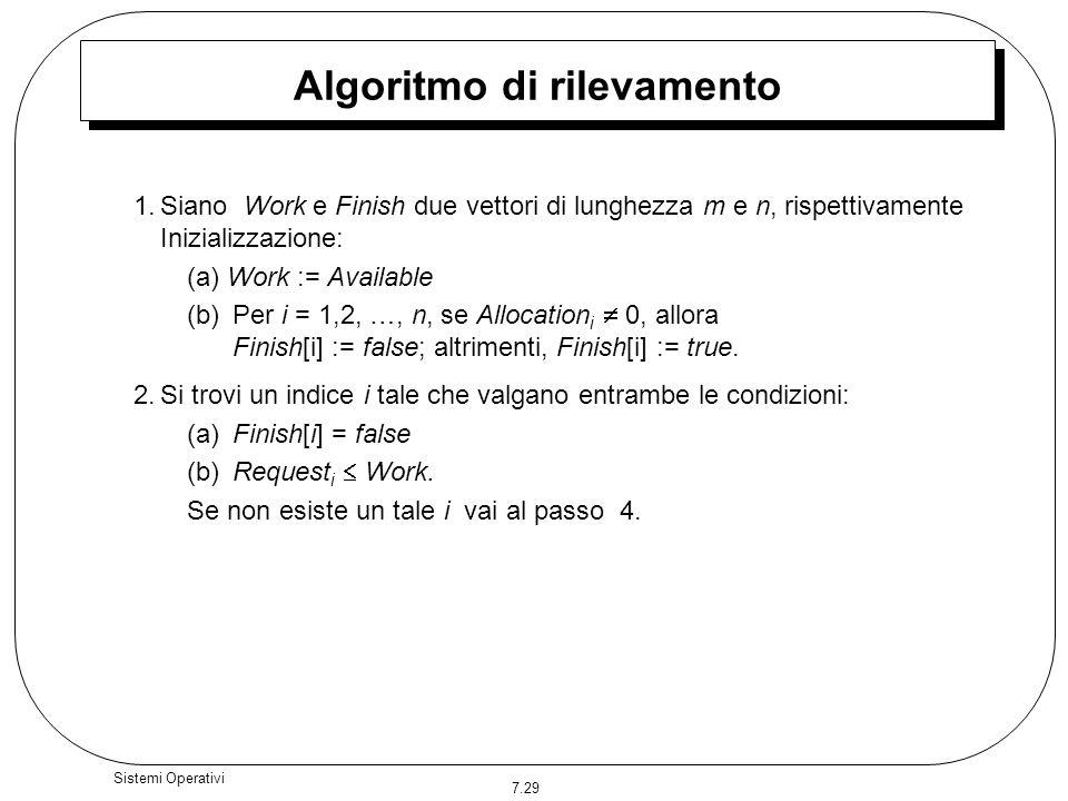 7.29 Sistemi Operativi Algoritmo di rilevamento 1.Siano Work e Finish due vettori di lunghezza m e n, rispettivamente Inizializzazione: (a) Work := Av