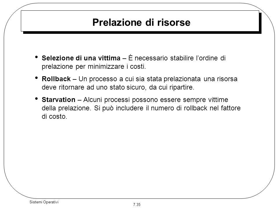 7.35 Sistemi Operativi Prelazione di risorse Selezione di una vittima – È necessario stabilire lordine di prelazione per minimizzare i costi. Rollback