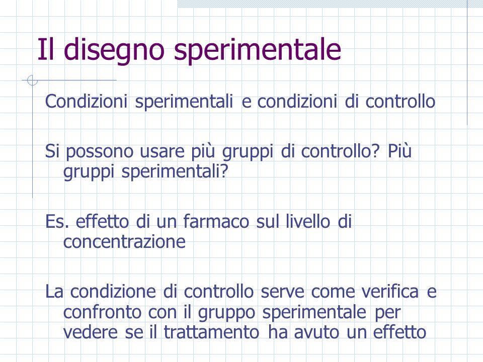 Il disegno sperimentale Condizioni sperimentali e condizioni di controllo Si possono usare più gruppi di controllo? Più gruppi sperimentali? Es. effet