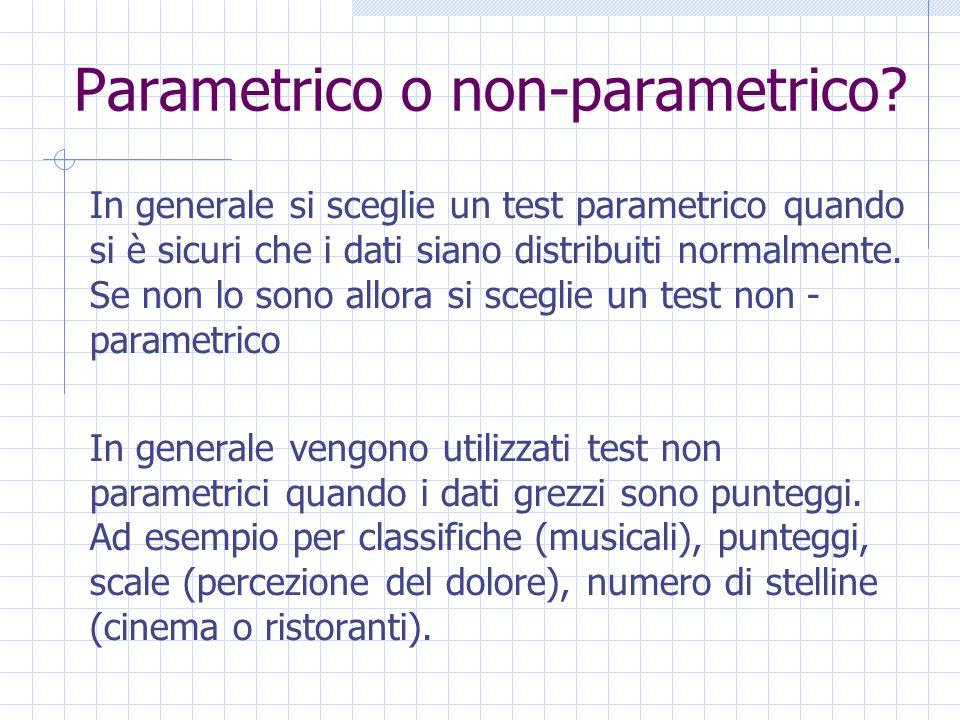 Parametrico o non-parametrico? In generale si sceglie un test parametrico quando si è sicuri che i dati siano distribuiti normalmente. Se non lo sono