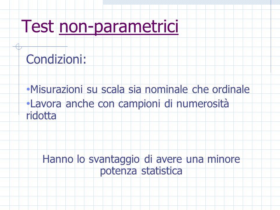 Test non-parametrici Condizioni: Misurazioni su scala sia nominale che ordinale Lavora anche con campioni di numerosità ridotta Hanno lo svantaggio di