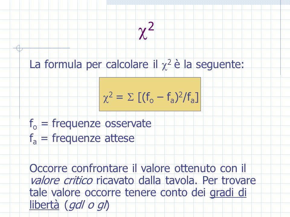 2 La formula per calcolare il 2 è la seguente: 2 = [(f o – f a ) 2 /f a ] f o = frequenze osservate f a = frequenze attese Occorre confrontare il valore ottenuto con il valore critico ricavato dalla tavola.