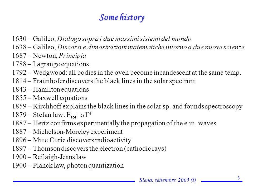 Siena, settembre 2005 (I) 3 Some history 1630 – Galileo, Dialogo sopra i due massimi sistemi del mondo 1638 – Galileo, Discorsi e dimostrazioni matema