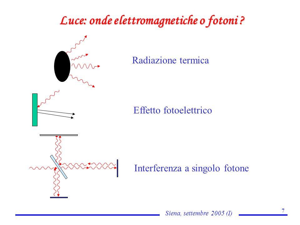 Siena, settembre 2005 (I) 7 Luce: onde elettromagnetiche o fotoni ? Radiazione termica Effetto fotoelettrico Interferenza a singolo fotone