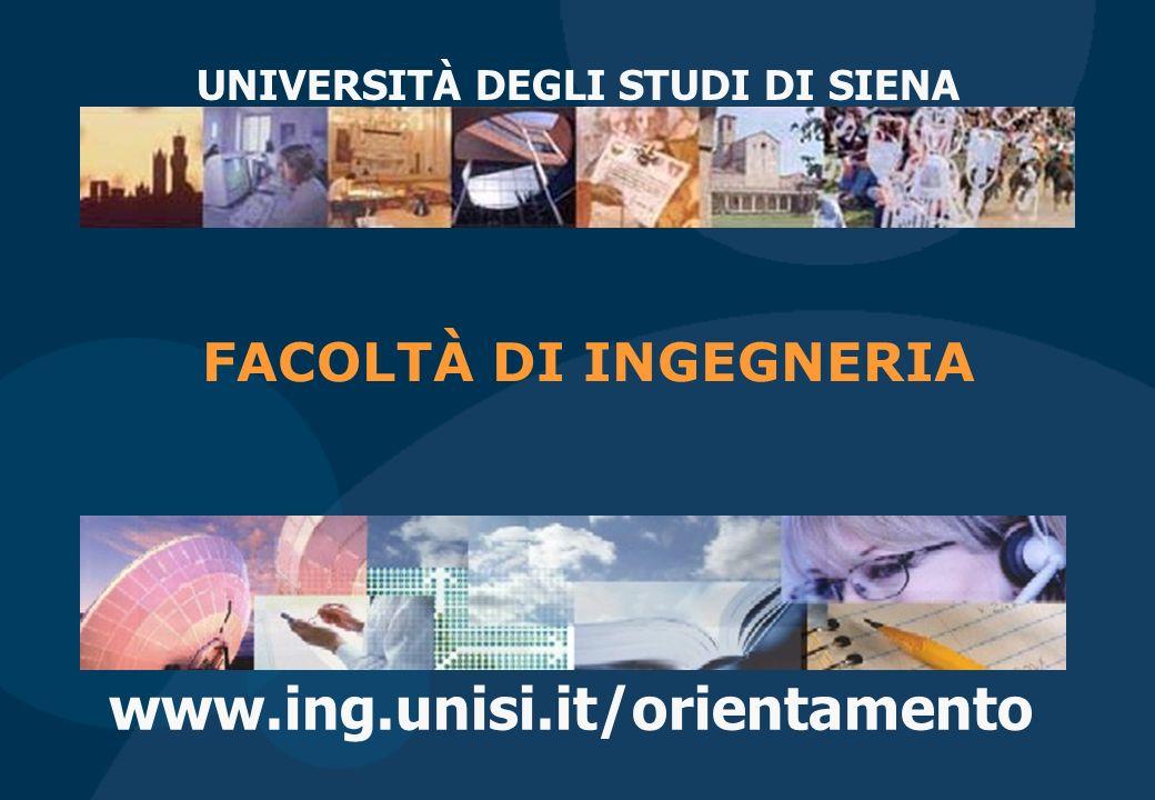 www.ing.unisi.it/orientamento UNIVERSITÀ DEGLI STUDI DI SIENA FACOLTÀ DI INGEGNERIA