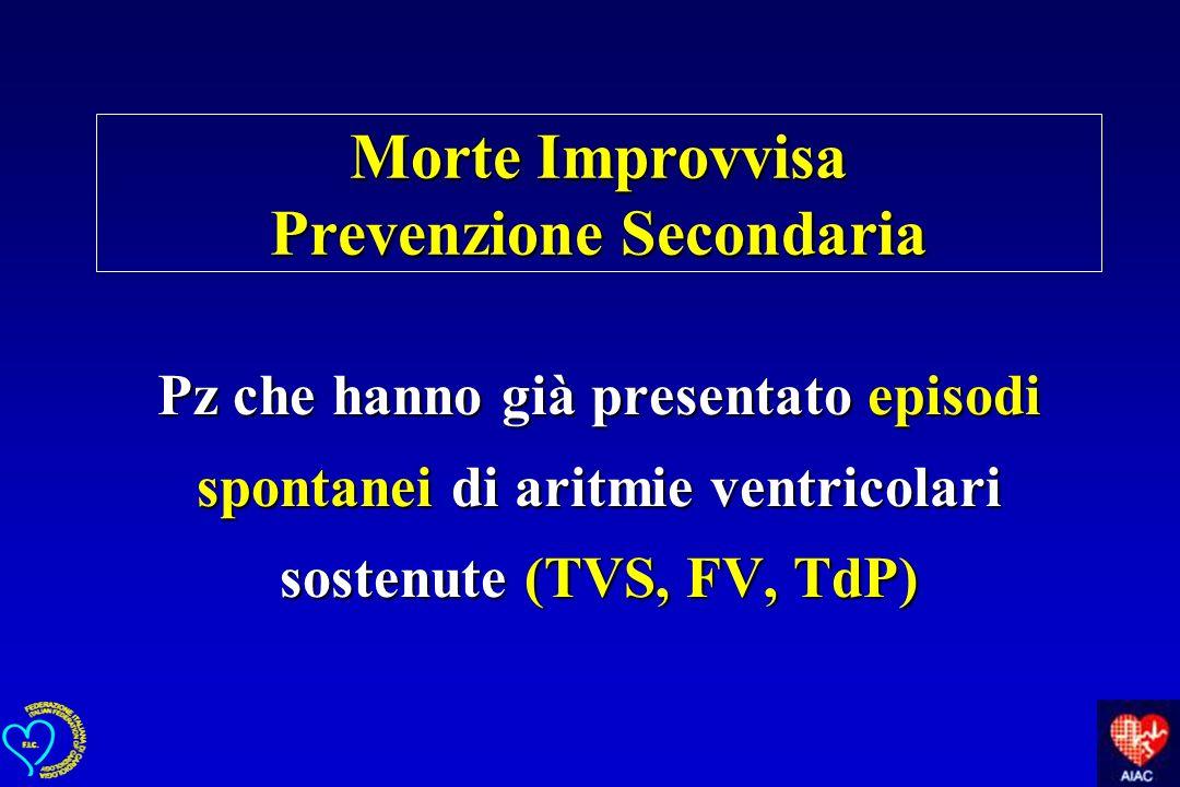 Morte Improvvisa Prevenzione Secondaria Pz che hanno già presentato episodi spontanei di aritmie ventricolari sostenute (TVS, FV, TdP)