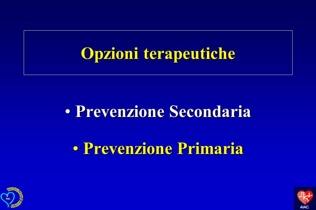 Opzioni terapeutiche Prevenzione SecondariaPrevenzione Secondaria Prevenzione PrimariaPrevenzione Primaria