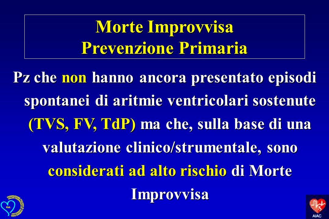 Morte Improvvisa Prevenzione Primaria Pz che non hanno ancora presentato episodi spontanei di aritmie ventricolari sostenute (TVS, FV, TdP) ma che, su