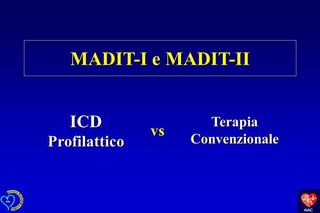 vs MADIT-I e MADIT-II ICD Profilattico Terapia Convenzionale