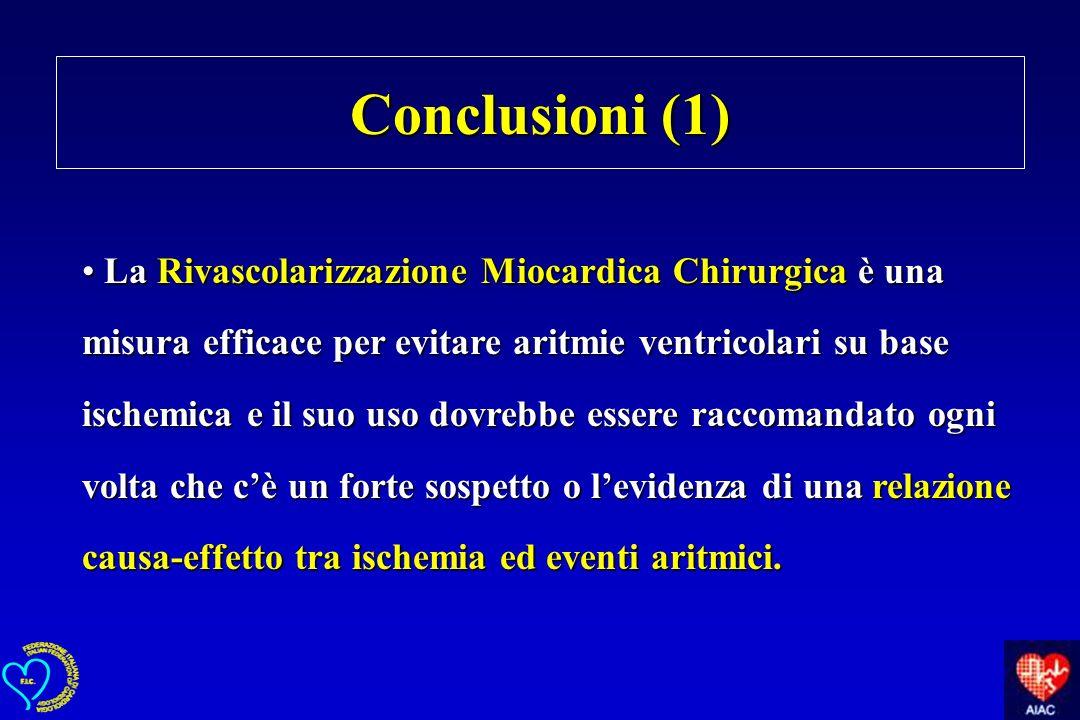 La Rivascolarizzazione Miocardica Chirurgica è una misura efficace per evitare aritmie ventricolari su base ischemica e il suo uso dovrebbe essere rac