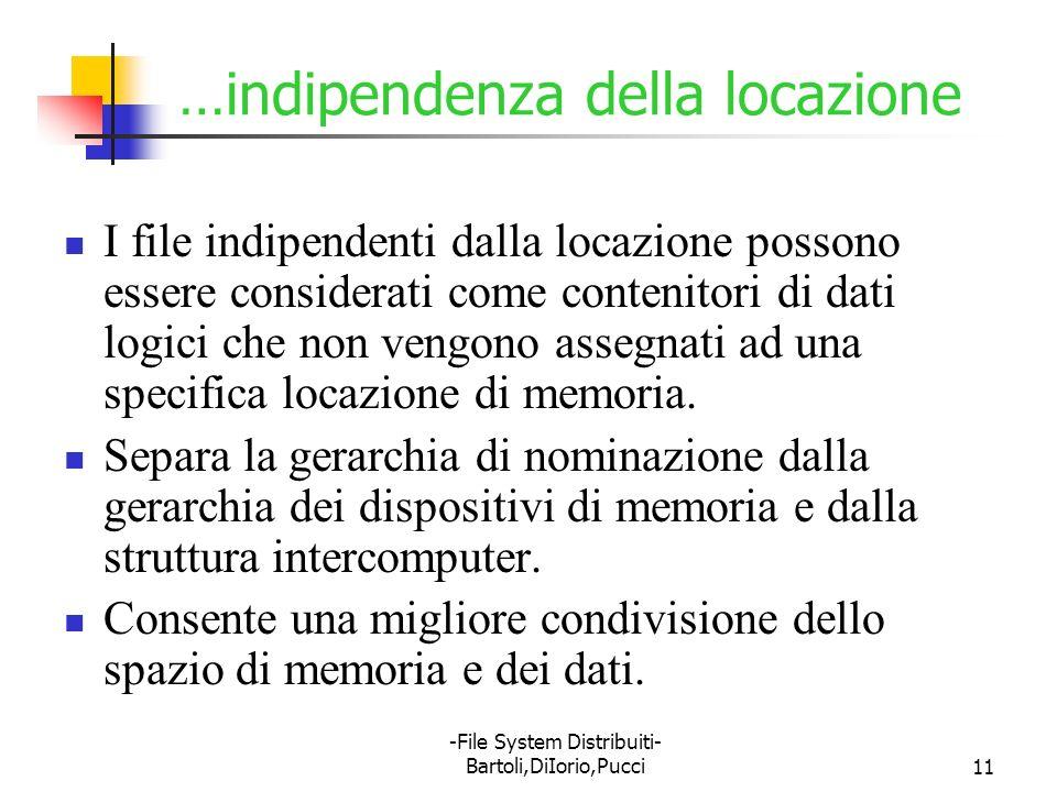 -File System Distribuiti- Bartoli,DiIorio,Pucci11 …indipendenza della locazione I file indipendenti dalla locazione possono essere considerati come co