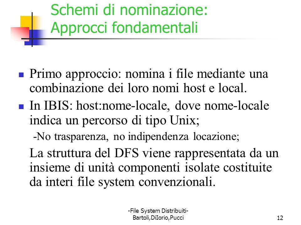 -File System Distribuiti- Bartoli,DiIorio,Pucci12 Schemi di nominazione: Approcci fondamentali Primo approccio: nomina i file mediante una combinazion