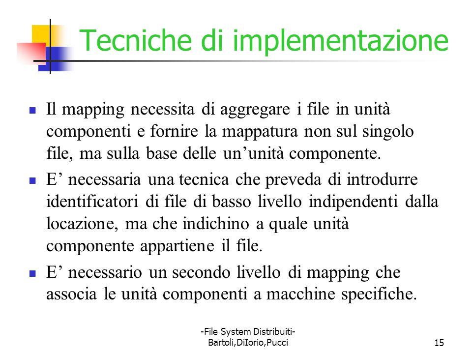 -File System Distribuiti- Bartoli,DiIorio,Pucci15 Tecniche di implementazione Il mapping necessita di aggregare i file in unità componenti e fornire l