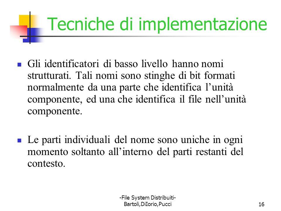 -File System Distribuiti- Bartoli,DiIorio,Pucci16 Tecniche di implementazione Gli identificatori di basso livello hanno nomi strutturati. Tali nomi so