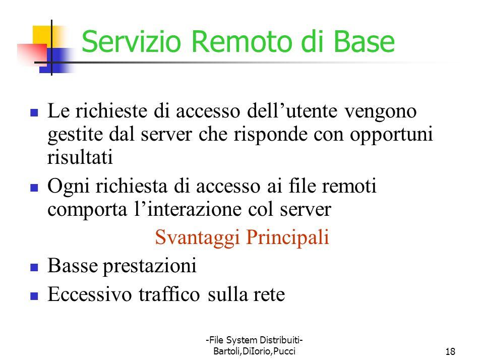 -File System Distribuiti- Bartoli,DiIorio,Pucci18 Servizio Remoto di Base Le richieste di accesso dellutente vengono gestite dal server che risponde c