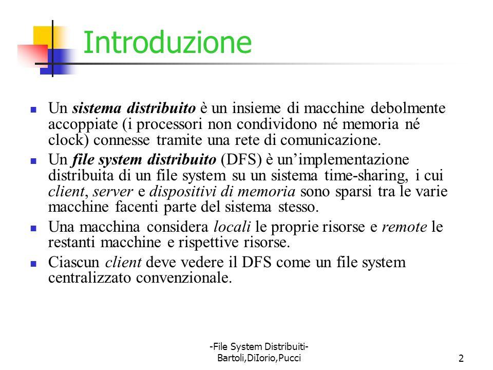 -File System Distribuiti- Bartoli,DiIorio,Pucci53 Network File System NFS è la soluzione proposta da Sun al problema del DFS NFS è sia una specifica che un sistema software implementato NFS è il più venduto e diffuso DFS nonostante risenta di diverse limitazioni e problemi