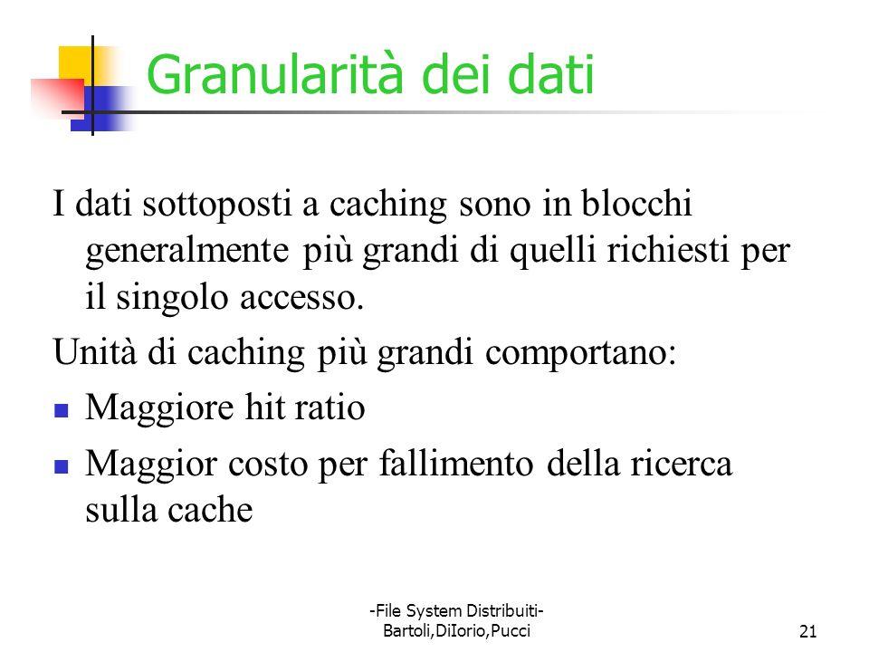 -File System Distribuiti- Bartoli,DiIorio,Pucci21 Granularità dei dati I dati sottoposti a caching sono in blocchi generalmente più grandi di quelli r