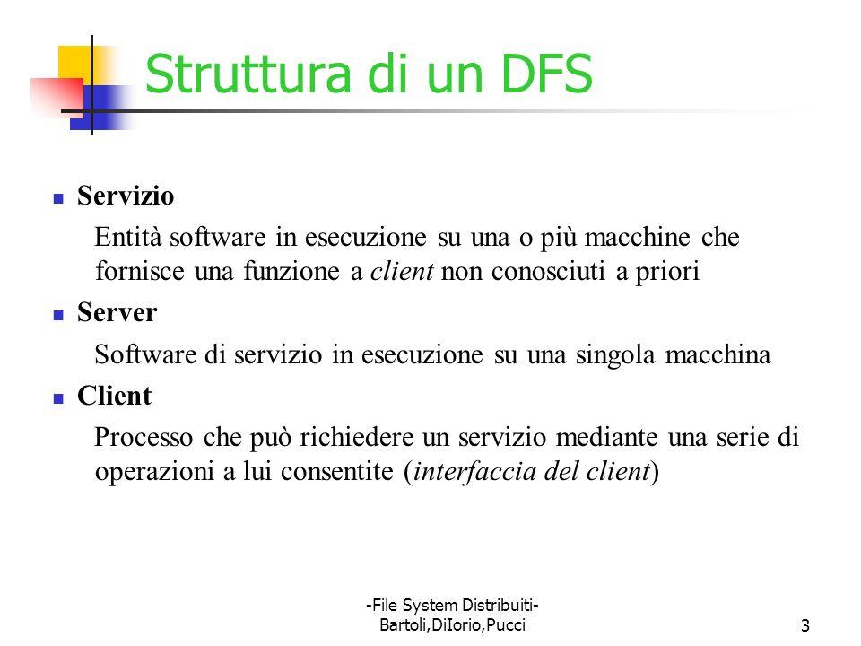 -File System Distribuiti- Bartoli,DiIorio,Pucci54 Panoramica su NFS Nella rete non si fa distinzione fra macchine client e server Fra qualunque coppia di macchine può condividersi parte del file system Le macchine restano indipendenti: la condivisione di un file system non ha effetti sul client