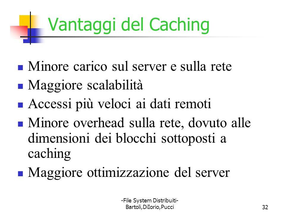 -File System Distribuiti- Bartoli,DiIorio,Pucci32 Vantaggi del Caching Minore carico sul server e sulla rete Maggiore scalabilità Accessi più veloci a