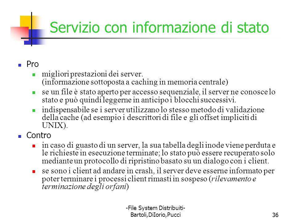 -File System Distribuiti- Bartoli,DiIorio,Pucci36 Servizio con informazione di stato Pro migliori prestazioni dei server. (informazione sottoposta a c