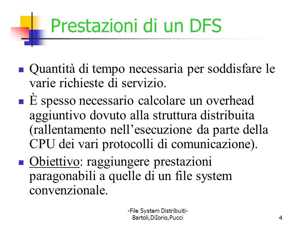 -File System Distribuiti- Bartoli,DiIorio,Pucci4 Prestazioni di un DFS Quantità di tempo necessaria per soddisfare le varie richieste di servizio. È s