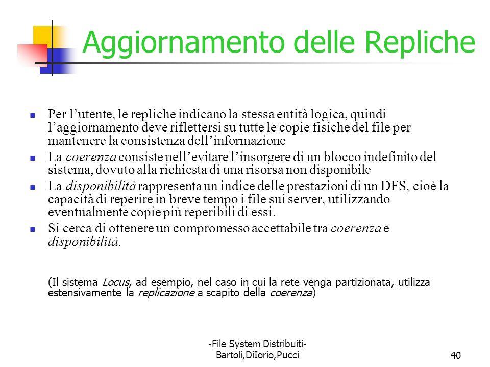 -File System Distribuiti- Bartoli,DiIorio,Pucci40 Aggiornamento delle Repliche Per lutente, le repliche indicano la stessa entità logica, quindi laggi