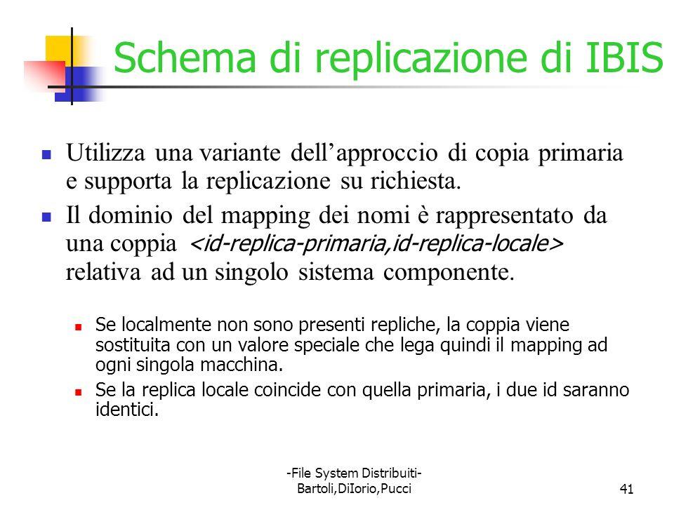 -File System Distribuiti- Bartoli,DiIorio,Pucci41 Schema di replicazione di IBIS Utilizza una variante dellapproccio di copia primaria e supporta la r